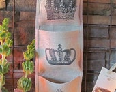 French Crowns Burlap Wall Pocket