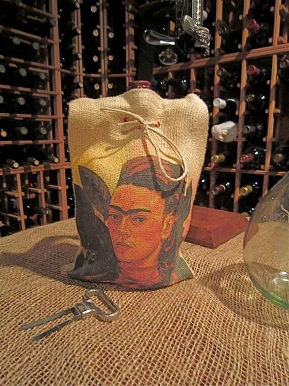 Frida Kahlo and Monkey Wine Bag