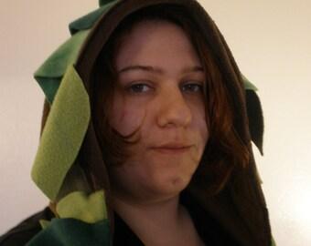 Silvan -- Pointed Wood Elf Hood with Leafy Trim