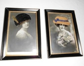 PHOTOS, ANTIQUE PHOTOGRAPHS made into a Postcards dated 1908 Embellished with hats