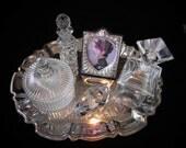 Vanity Set: Silver Tray, Perfume Bottles,PowderJar, Bunny, Picture Frame
