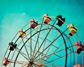 Aqua Ferris Wheel Carnival Photo, Carnival Ride Decor, Teal Pop Art Print, Nursery Decor Idea - Aquamarine Dream
