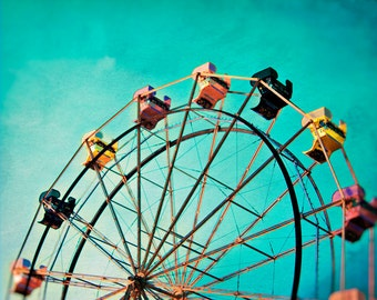 Aqua Ferris Wheel Carnival Photo, Carnival Ride Decor, Teal Pop Art Print, Nursery Decor Idea - Aquamarine Dream