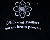 Geeks and Zombies Black Tee Shirt (Extra Large)