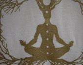 Organic Cotton t-shirt with Meditation Print, Size Medium, American Apparel