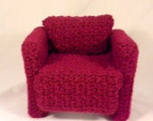 Barbie chair, crochet over-sized easy chair, barbie doll 1:6 scale furniture in crochet, doll not included