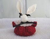 Bunny Petite Shelf Sitter Red, Black and White with Black Ribbons Valentine's Day Colors