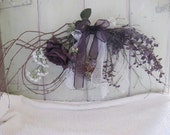 Natural Bent Birch Spray in Eggplant with Mauve Bird in Nest Silk Flowers Lace Sheer Ribbon