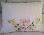White Silky Floral Pillow Made From a Vintage Pillow Case