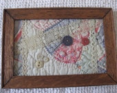 Vintage Quilt Piece Wall Hanging with Vintage Lace And Buttons Home Decor