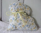 Print Stuffed Bunny Accent Pillow Yellow Gold and Blue Floral Variety with Yellow Ribbon Rabbit Charm Home Decor