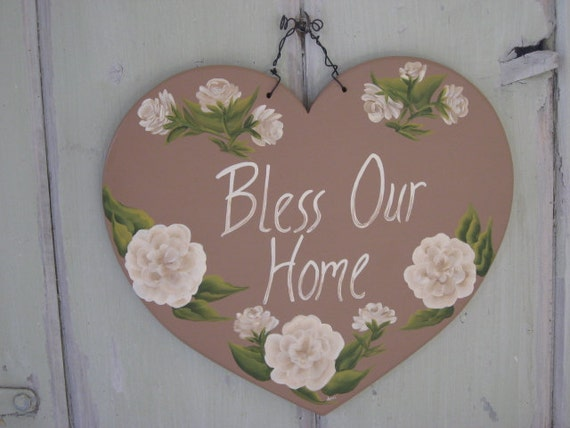 Bless Our Home - Heart with Roses Wall Hanging