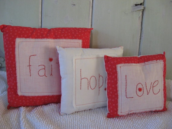 """Pillow Stack Set of 3 Red Print Pillows of """"Faith, Hope and Love"""""""