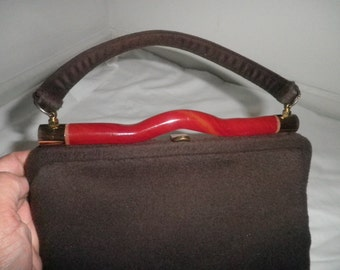 Dark Brown BAG/PURSE with RED Lucite Embellishment from the 60's--Vintage