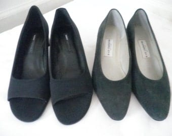 Lot of Pre-owned Vintage Black & Gray Shoes  DKNY /  LIZ CLAIRBORNE Made in Spain---Both Size 8 M
