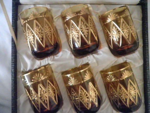 Cocktail Glassware Set Etched and painted in Pure Gold from the 1950's--Unique Vintage