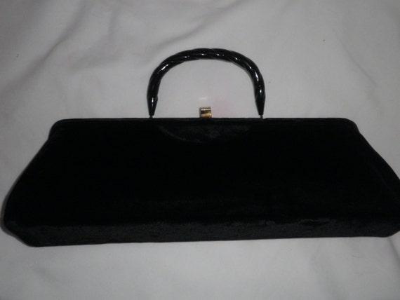 Black Velvet Evening Bag/ Purse---Extra Long Clutch Handbag or with Handle---Elegant VINTAGE