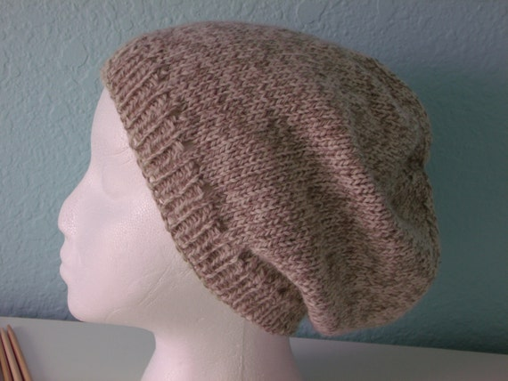 SALE, WAS 20-- Slouchy Hat, Unisex, Tan Tweed, Ready to Ship