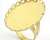 s00182 - 1 Brass Cabochon ring Setting, adjustable hidden mechanism, Cadmium free, large deep cabochon setting, popular oval shape, 19x26mm