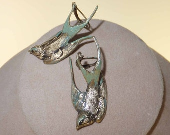 j2299 Antique Bronze Bird (Swallow)  Earrings with mint green accents. Lever backs