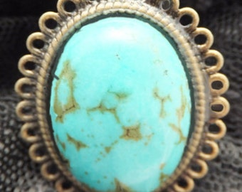 j3213 Turquoise  Ring Antique Bronze.