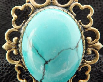 j3212 Turquoise  Ring Antique Bronze.