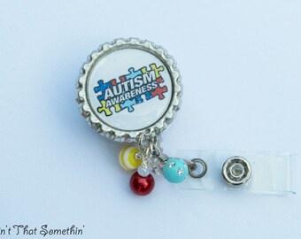 Autism Awareness Retractable Badge Reel - Bottlecap Badge Holder - Autism Badge Clip - Awareness ID Holders - Designer Badge Pulls