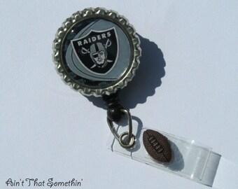 Oakland Raiders Inspired Retractable Badge Reel