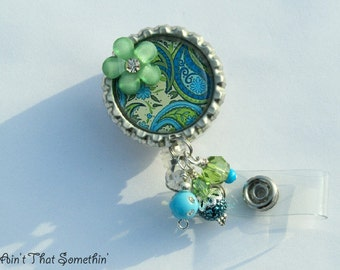 Pretty Paisley - Retractable Badge Reel - Designer Badge Clip - Pretty Badge Reels - Beaded ID Clips - Fashionable Badge Reel