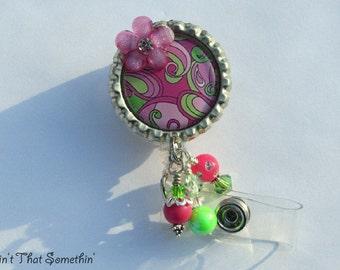 Brite Pink and Green Paisley Retractable Badge Reel - Designer Badge Clips - Paisley ID Holders - Fun Badge Reels - Badge Reel Gifts