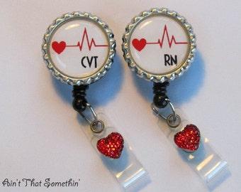 Cardiac Care Retractable Badge Reel - Medical Badge Reels - Tech ID Holders - Cardiac Badge Clips - Gifts Under 10 - Designer ID Reels