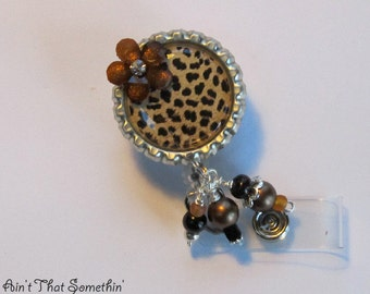 Cheetah Retractable Badge Reel - Sophisticated Badge Clips - Designer Badge Reels - Diva ID Holders - Fashionable Name Tag Holder - ID Bling