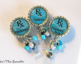Pharmacy Retractable Badge Reel - Professional ID Reel - Beaded Badge Pull - Unique ID Holder - Classy Name Tag Holders