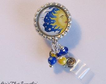 Sun and Moon Retractable Badge Reel - Fun ID Holders - Designer Badge Pull - Beaded ID Reel - Creative Badge Clip - Badge Reel Gifts