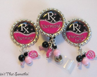 Pharmacy Retractable Badge Reels in Pink and Black - Pharmacy Badge Reel - Pharmacist Badge Clip - Designer Badge Reels - Badge Reel Gifts