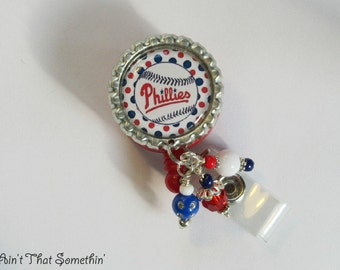 Girly Phillies Inspired Retractable Badge Reel - Phillies Badge Reel - Baseball Badge Reel - Sports Badge Clips - Designer Badge Reels