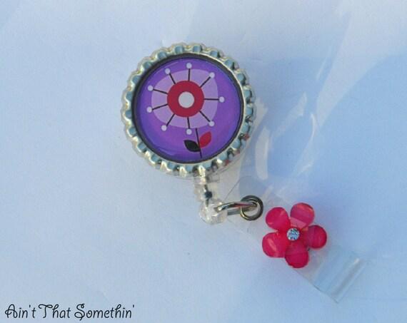 Deep Pink and Purple Posie Retractable Badge Reel - Gifts Under 10 - Designer Badge Reels - Cute ID Holders - Diva Badge Clips - Unique IDs