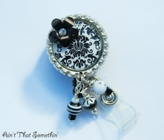 White with Black Damask Classic Retractable Badge Reel - Designer ID Holder - Professional ID Reel - Unique Badge ID
