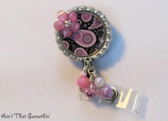Black with Lavender/Pink Paisley Retractable Badge Reel - Paisley Badge Reels - Designer ID Holders - Professional Badge Reels - Diva IDs
