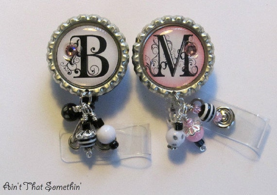 Pink or Black Curly Swirly's with Bead Bundles Retractable Badge Reel - Monogram ID Holder - Personalized Badge Clips - Designer Badge Pulls