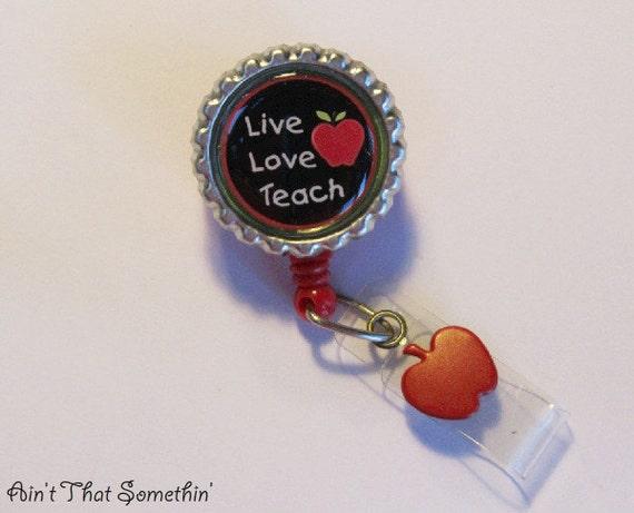 Live Love Teach Retractble Badge Reel - Teacher Badge Reels - Teacher Gifts Under 10 - Fun Badge Clips - Cute Badge Reels - Designer ID PUll