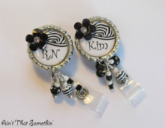 Personalized Black and White - Retractable Badge Reel - Designer ID Holder - Professional Badge Pull - Unique ID Lanyard - Beaded ID Reels