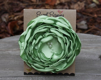 30 Colors Large Satin Flower Pin, Lime Green Satin Flower Pin