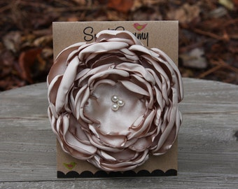 30 Colors Large Satin Flower Pin, Tan Satin Flower Pin