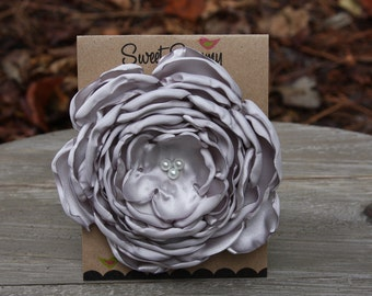 30 Colors Large Satin Flower Pin, Gray Satin Flower Pin