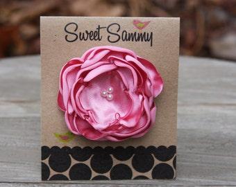 30 Colors Small Satin Flower Hair Clip, Medium Pink Flower Hair Clip