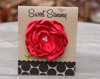 30 Colors Small Satin Flower Hair Clip, Red Flower Hair Clip