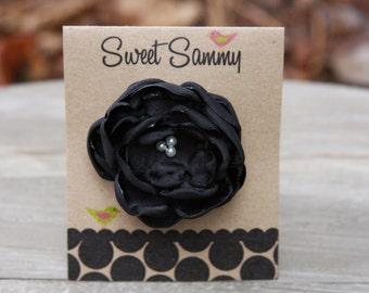 30 Colors Small Satin Flower Hair Clip, Black Flower Hair Clip