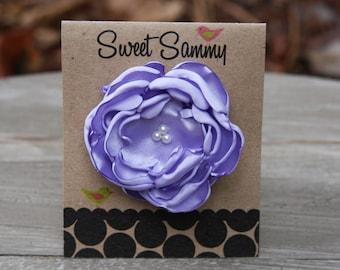 30 Colors Small Satin Flower Hair Clip, Lavender Flower Hair Clip