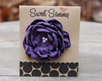 30 Colors Small Satin Flower Hair Clip, Purple Flower Hair Clip